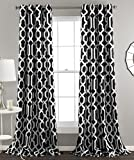Lush Decor Edward Trellis Curtains Room Darkening Window Panel Set for Living, Dining, Bedroom (Pair), 84' x 52', Black