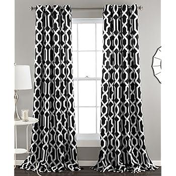 Lush Decor Edward Trellis Room Darkening Window Curtain Panel Pair 84 Inch X 52 Black Set Of 2