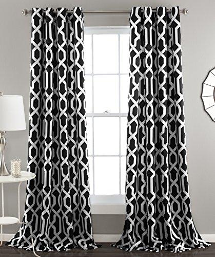 Lush Decor Edward Trellis Curtains Room Darkening Window Panel Set for Living, Dining, Bedroom (Pair), 84