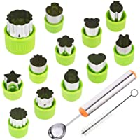 TIMGOU 12 Pcs Vegetable Fruit Cutter Shapes Set with Melon Baller Scoop and Cleaning Brush, Mini Pie Cookie Stamps Mold…