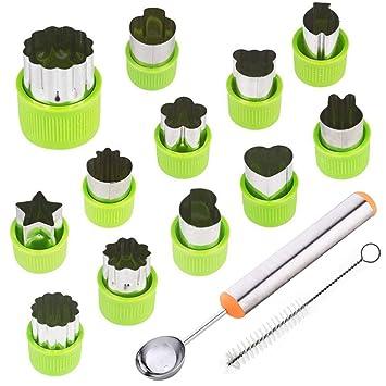 TIMGOU - Juego de 12 moldes para cortar frutas verduras con cuchara de melón y cepillo de ...