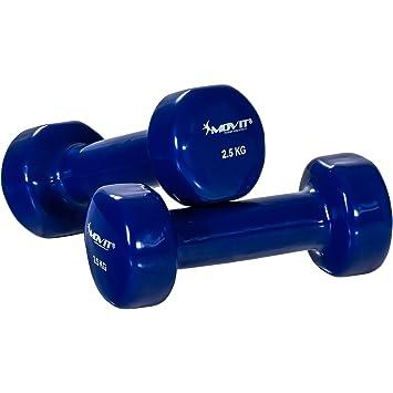 Movit Set de 2 mancuernas de vinilo, mancuernas de una mano con superficie de vinilo, 2x 2,5 kg en azul: Amazon.es: Deportes y aire libre