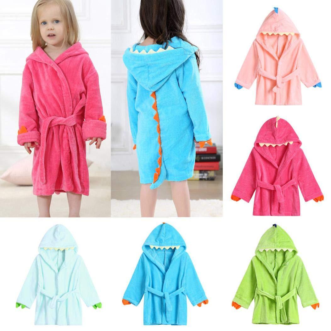 OCEAN-STORE Toddler Baby Girls Boys Clothes 24 Months-5T,Cartoon Dinosaur Hooded Bathrobe Bathrobe Cloak Nightgown Outfits