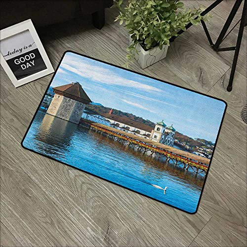 Interior Door mat W24 x L35 INCH Landscape,Panoramic View of Oak Chapel Bridge Northern Lands Lake European Aged City Print, Blue Brown Non-Slip, with Non-Slip Backing,Non-Slip Door Mat Carpet