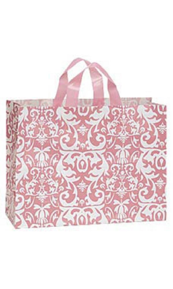 Large Pink Damask Frosted Plastic Shopping Bags - Case of 100