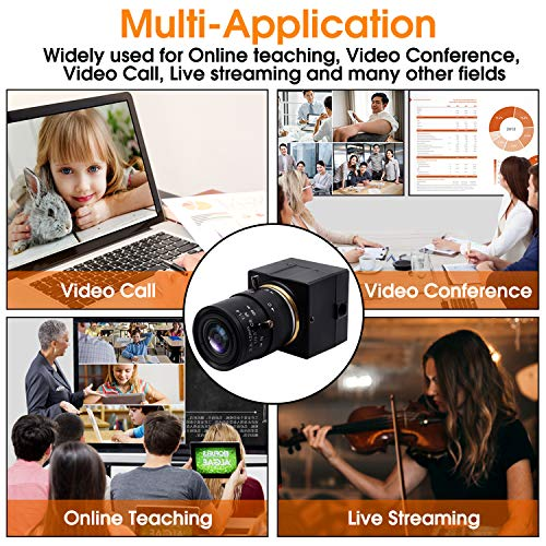 SVPRO 2MP Low Light USB Camera, 1080P HD Mini USB Webcam Sony IMX322 Sensor H.264, CS Mount Lens 2.8-12mm Zoom Focus Web Camera with MIC for LiveStream/Conference/Recording/Windows/Linux/MAC/Android