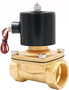 Baomain 1-1/2 inch DC 24V Brass Electric Solenoid Valve Water Air Fuels NC Valve