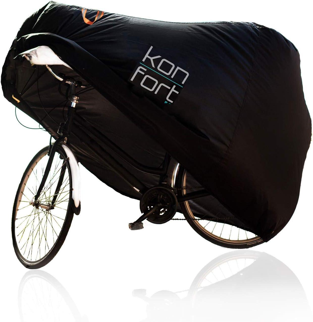 KON-FORT Funda Bicicleta Exterior Impermeable Tela Oxford 210D, contra Lluvia Sol Polvo, para Montaña Carretera (1-2 bicis) con Bolsa de Transporte y Candado y Cable antirrobo