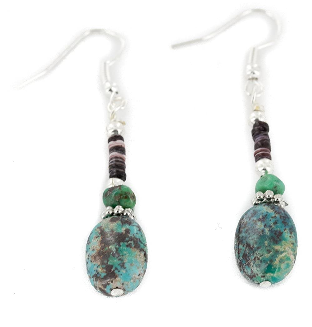 $120Tag Certified Silver Navajo Hooks Dangle Turquoise Native Earrings 18106-12 Made By Loma Siiva
