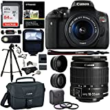 "Canon EOS Rebel T6i 24.2 MP DSLR Camera, 18-55mm f/3.5-5.6 STM Lens, Polaroid HD .43x Wide Angle & 2.2X Telephoto Lens, Sandisk 64 GB + 57"" Tripod, 58mm Filter Kit, Bag and Accessory Bundle"