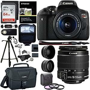 "Canon EOS Rebel T6i 24.2 MP DSLR Camera, 18-55mm f/3.5-5.6 STM Lens, Polaroid HD .43x Wide Angle & 2.2X Telephoto Lens, Sandisk 64 GB + 57"" Tripod, 58mm Filter Kit, Bag and Accessory Bundle"