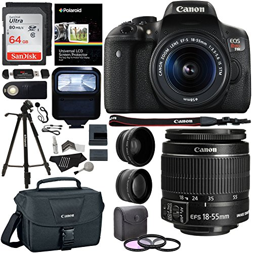 Canon EOS Rebel T6i 24.2 MP DSLR Camera, 18-55mm f/3.5-5.6 STM Lens, Polaroid HD .43x Wide Angle & 2.2X Telephoto Lens, Sandisk 64 GB + 57'' Tripod, 58mm Filter Kit, Bag and Accessory Bundle by Ritz Camera
