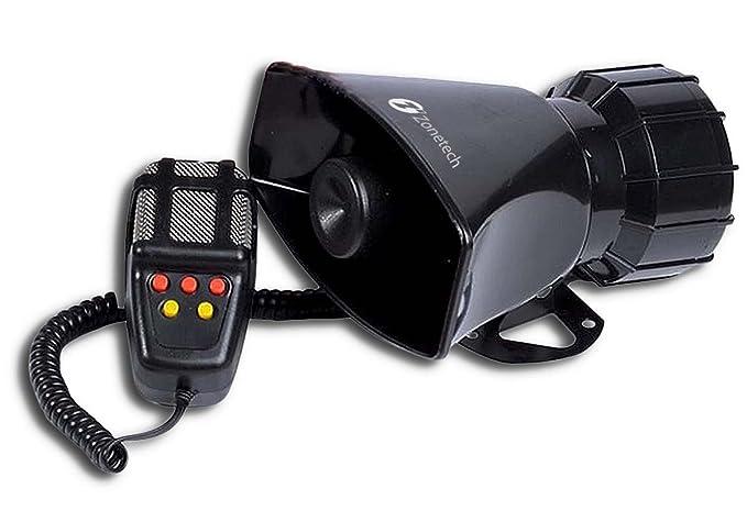 Zona Tech 5 Sonido del tono coche Cuerno Sirena Vehículo con micrófono sistema de altavoces PA amplificador de sonido de emergencia - 60 W emergencia ...