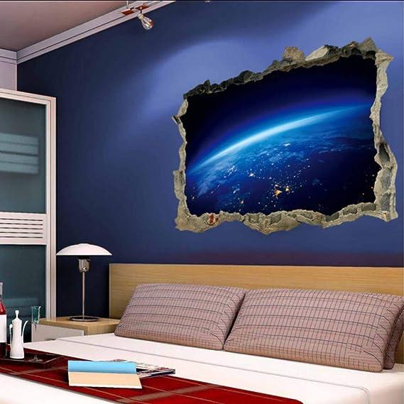 (Hjcmhjc) Blau Weltraum Planeten 3D Wandaufkleber Für Kinderzimmer Cosmic Galaxy Wandtattoo Baby Schlafzimmer Wohnzimmer Deck