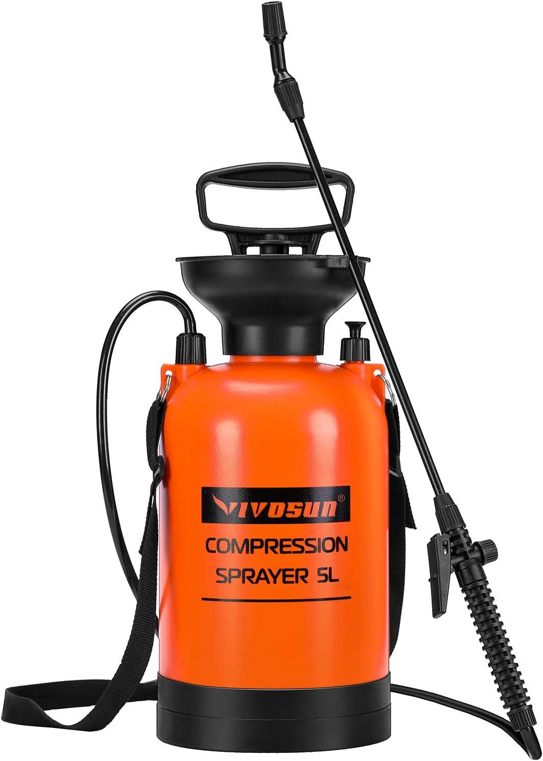 VIVOSUN 1.3 Gallon Lawn and Garden Pump Pressure Sprayer with Pressure Relief Valve