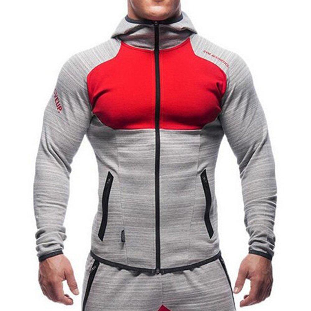 EVERWORTH Men's Gym Workout Hoodie Jacket Fitted Training Running Active Sweatshirts