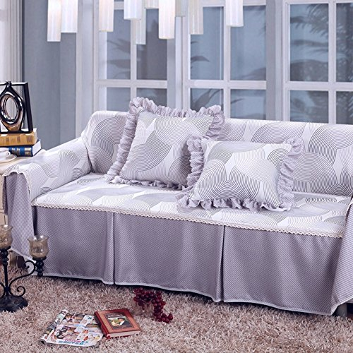 (YQ WHJB Polyester Slipcover sofa,Sofa cover Universal Full pack cover Breathable 1-piece Dust-proof couch Anti-slip Furniture protector for 1 2 3 4 cushions sofa Couch covers-D 215x350cm(85x138inch))