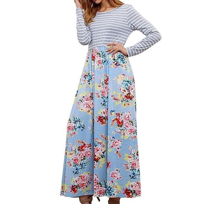 Challeng Vestido Mujeres Manga Larga Imprimir Ocio Vestido Largo Cuello Redondo Algodón Ancho Pino (S