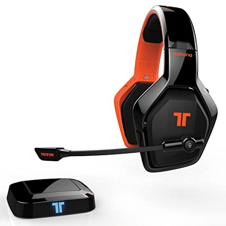Mad Catz Auriculares Wireless, Katana 7.1 HD, Negro y Naraja