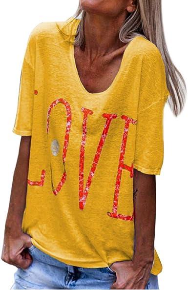 VEMOW Tops Mujer Moda Camisa de Manga Corta con Estampado de Letras de Amor para Blusa Casual para Mujer Primavera Shirts Camisetas T-Shirt: Amazon.es: Ropa y accesorios