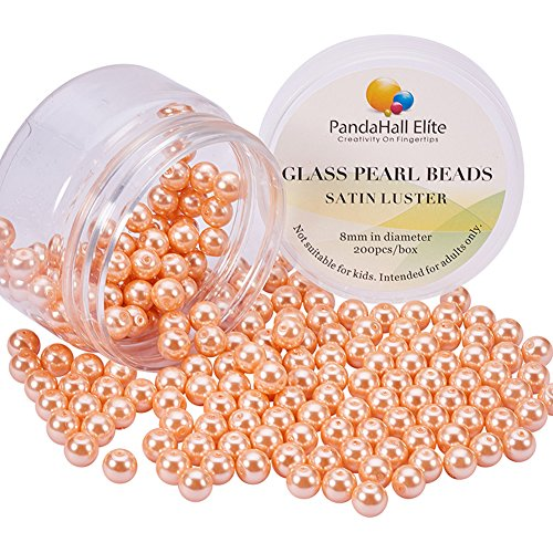 PandaHall Elite About 100 Pcs 10mm Tiny Satin Luster Glass Pearl Bead Round Loose Spacer Beads for Jewelry Making Anti-Flash Coral