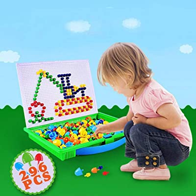 Fitfulvan Children's Dice Board Toy Combination Puzzle 296 Tablets, Educational Toys Exercise Hand-Eye Coordination, Recognize Colors: Toys & Games