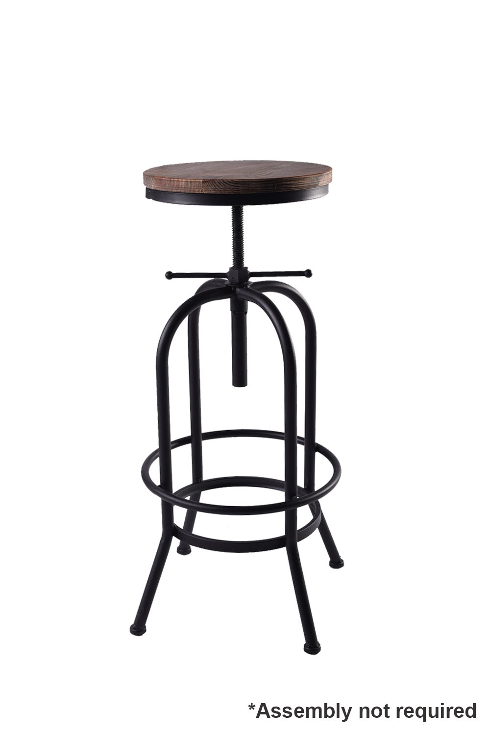 Articial Adjustable Rustic Industrial Bar Stool Swivel Pine Wood Top Metal Frame Bar Chair Footrest Leisure Coffee Chair