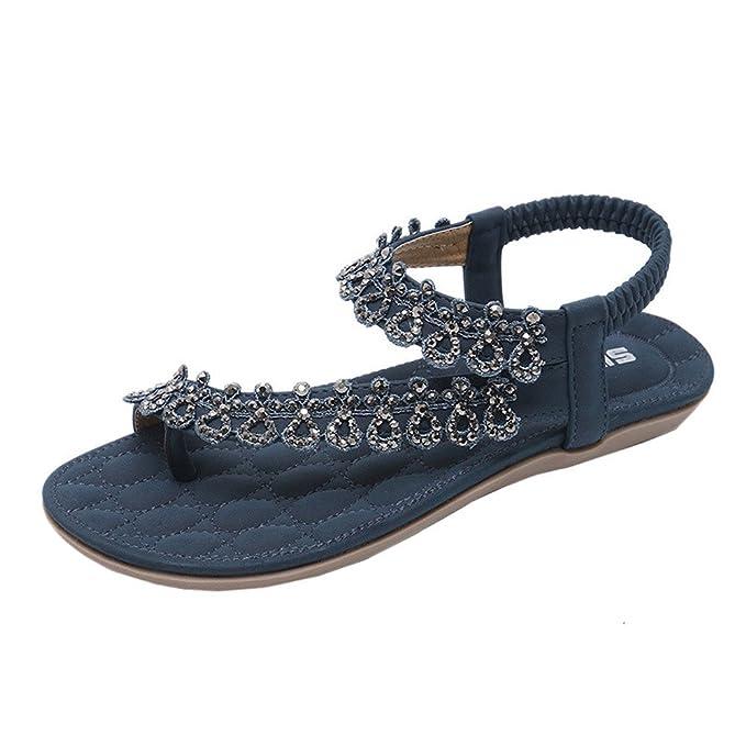 0f25c1939dcc3 Creazrise Women Sequins Sandals Summer Rhinestone Flats Platform Wedges  Shoes Silver (Blue A