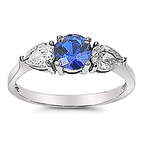 096fca4a1529 Simulated Blue Sapphire Stainless Steel Engagement Ring Size 5