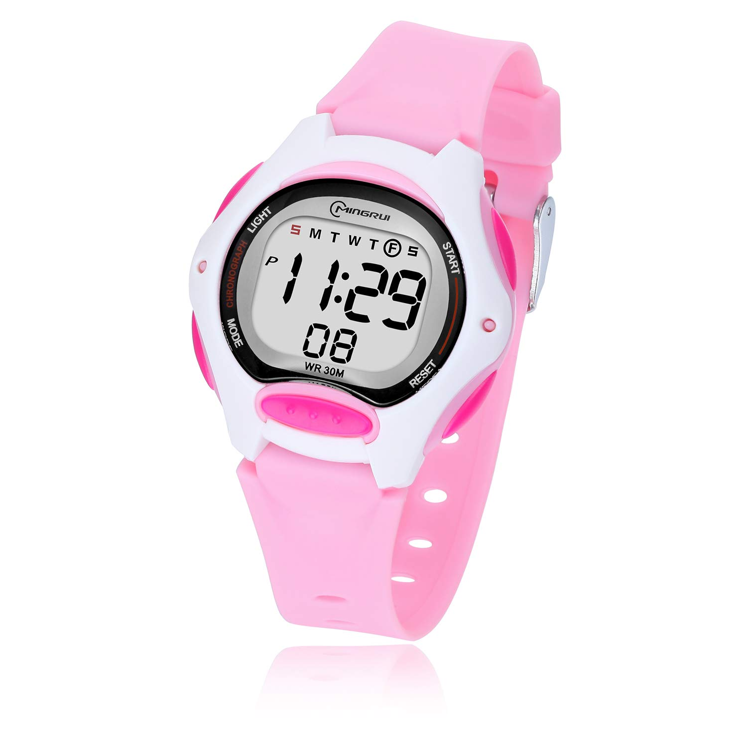 Kids Digital Watch,Girls Boys Waterproof Multi-Functional Cute WristWatches for Children Ages 3-12 (Pink) by Yadelai