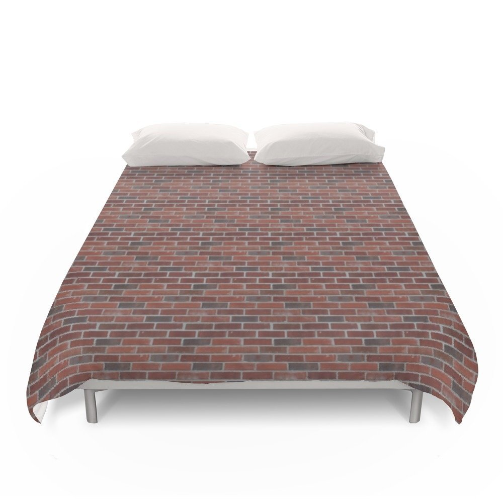 Society6 Brick Wall With Mortar - Red White Duvet Covers Full: 79'' x 79''