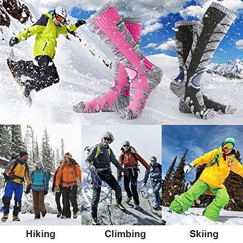 Calcetines para mujer de esquí de botas, escalada al aire libre Snowboard, medias de algodón para deportes de invierno Nexlook (rosa roja) (M 35-39): ...