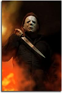 "Halloween Movie Poster Michael Myers Living Room Home Decoration Abstract Canvas Wall Art Hand Painted 3D Vertical Art Paintings for Home Decor 24""x36"""
