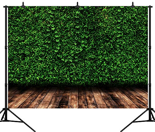 DePhoto 7X5FT(210x150CM) Spring Green Leaves Wooden Floor Backdrop Artistic Portrait Birthday Party Seamless Vinyl Photography Photo Background Studio Prop PGT436A ()