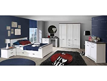 Expendio Jugendzimmer Gaston 66 Weiß Grau Schneeeiche 7 Teilig Schlafzimmer  Seniorenzimmer Landhaus Bett Schreibtisch Nachttisch