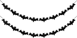 Glittery Bat Garland- Flying Bats Halloween,Halloween Party Decorations,Halloween Table Decor,Halloween Bats,Wreath for Halloween,Haunted House Decorations(2 Pack Black )
