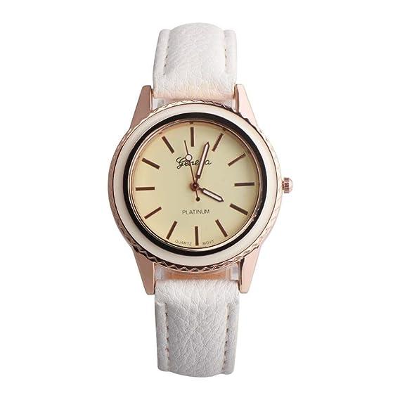 Relojes Mujer Baratos, SMARTLADY Cuero PU Analógico Cuarzo Elegantes Relojes de pulsera Oferta (Blanco