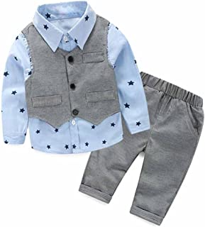 Clode® for 2-5 Years Old Boys, 3pcs Newborn Baby Boy Grey Waistcoat+Long Pants+Shirts Clothes Sets Suit