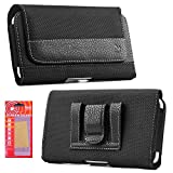 iPhone 7 Belt Case, Premium Black Nylon Smartphone Holster Carrying Pouch with Clip and Loops Belt Cover Magnetic Closure Kaede [Screen Guard] Protector for Iphone 7 Cell Phone
