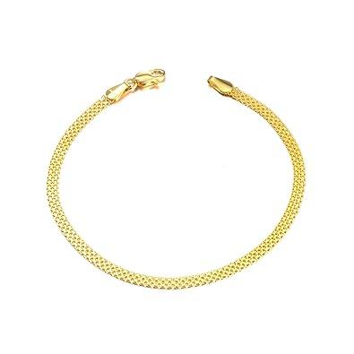 e300b27e SISGEM 18k Gold Chain Bracelets for Women, Real Gold Italian Mesh Bracelet,  2.8-2.9 mm, 6.5