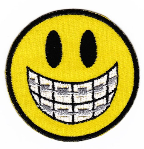 Smiley Face Teeth Braces Sew-on Iron-on Patches for Kids ...
