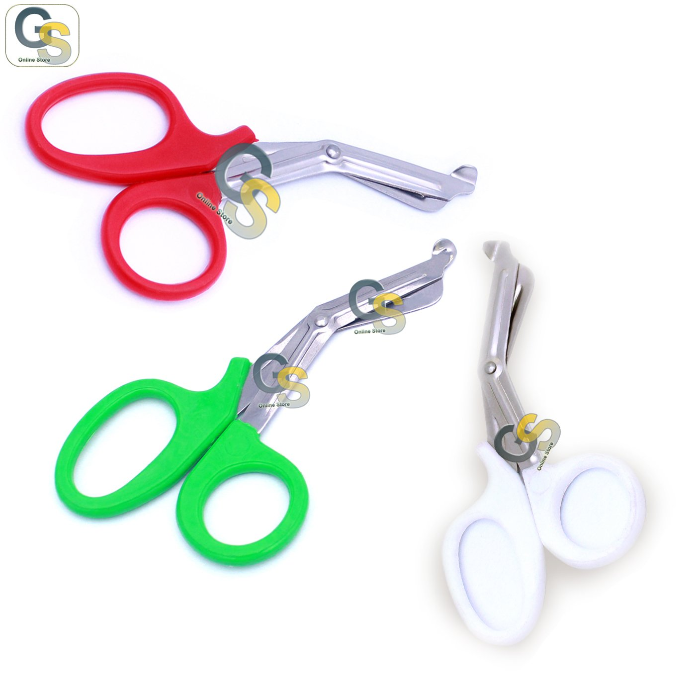 G.S 3 PCS (RED & GREEN & WHITE) PARAMEDIC UTILITY BANDAGE TRAUMA EMT EMS SHEARS SCISSORS 7.25 INCH STAINLESS STEEL
