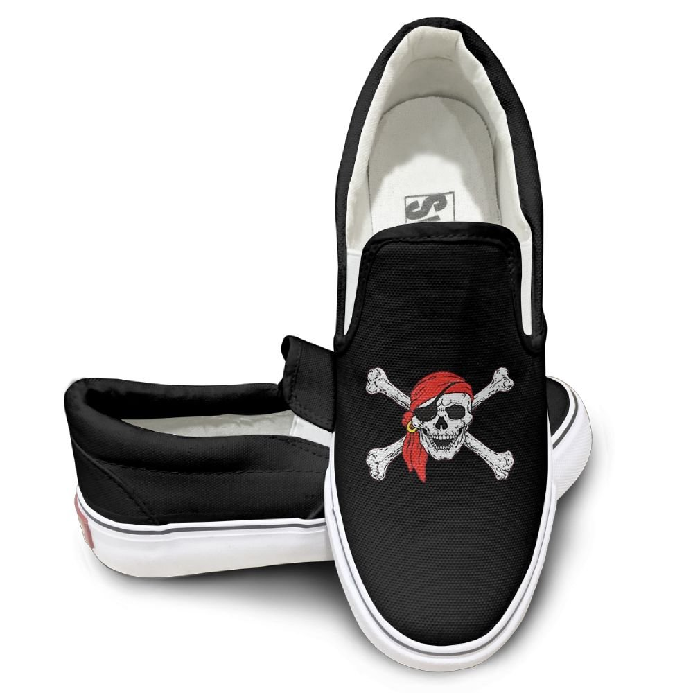 Womens Canvas Shoes Olly Roger Skull & Crossbones Customized Canvas Slip on Skate shoes for Men 39|Black