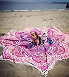 Popular Handicrafts Large Round Lotus Flower Mandala Tapestry - 100% Cotton - Outdoor Beach Roundie - Hippie Gypsy Boho Throw Tablecloth Wall Hanging Yoga/Picnic/Camping Mat - Pink Purple - 72''