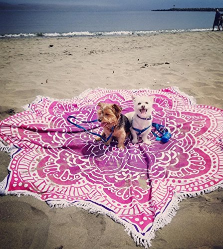 Popular Handicrafts Large Round Lotus Flower Mandala Tapestry - 100% Cotton - Outdoor Beach Roundie - Hippie Gypsy Boho Throw Tablecloth Wall Hanging Yoga/Picnic/Camping Mat - Pink Purple - 72