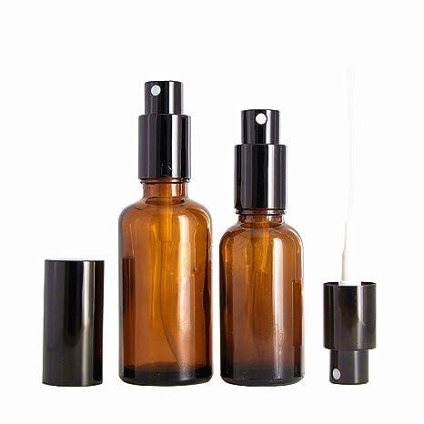 6 botellas de vidrio de ámbar con atomizador negro para aceite esencial 30/50/