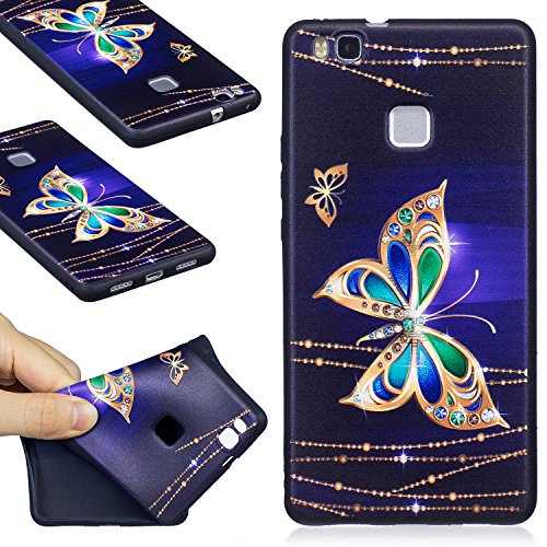 Huawei P9 Lite Case, FIREFISH Ultra-Slim Soft TPU Rubber Silicone Case Impact Resistant Durable Protective Back Cover Case for Huawei P9 Lite (2016) -Butterfly-A (Best Huawei P9 Lite Case)