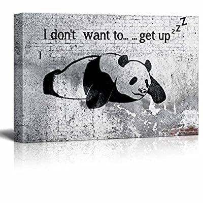 Crafted to Perfection, Marvelous Composition, Lazy Panda Painting on Shabby Wall