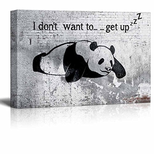 Lazy Panda Painting on Shabby Wall