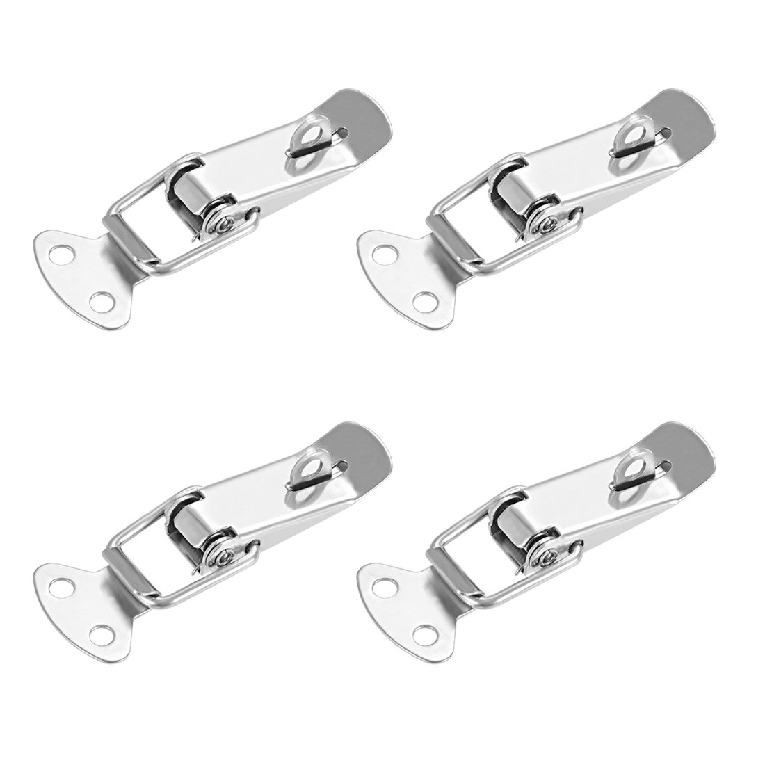 a18060700ux0322 Pack of 1 with Lock Hole uxcell Spring Loaded Toggle Latches 90mm Length Stainless Steel 201 Hasps Clamps for Case Box Trunk Catches